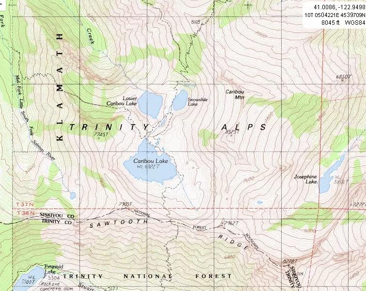 Salkow\'s - Trinity Alps Topo Maps